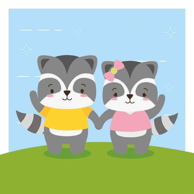 Casal de gambá, bonito animal cartoon e estilo simples, ilustração Vetor grátis