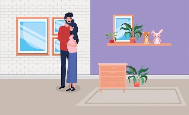 Casal de gravidez em casa lugar com gaveta Vetor grátis
