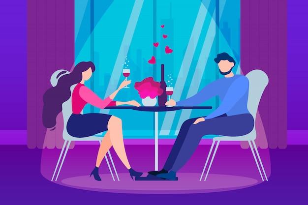 Casal de homem e mulher dos desenhos animados. noite romantica Vetor Premium