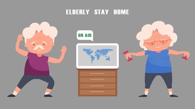 Casal de idosos se exercita em casa. ouça notícias da tv. Vetor Premium