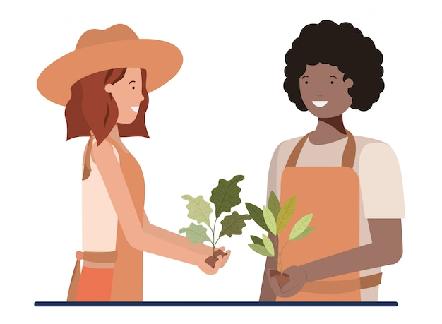 Casal de jardineiros sorrindo personagem avatar Vetor Premium