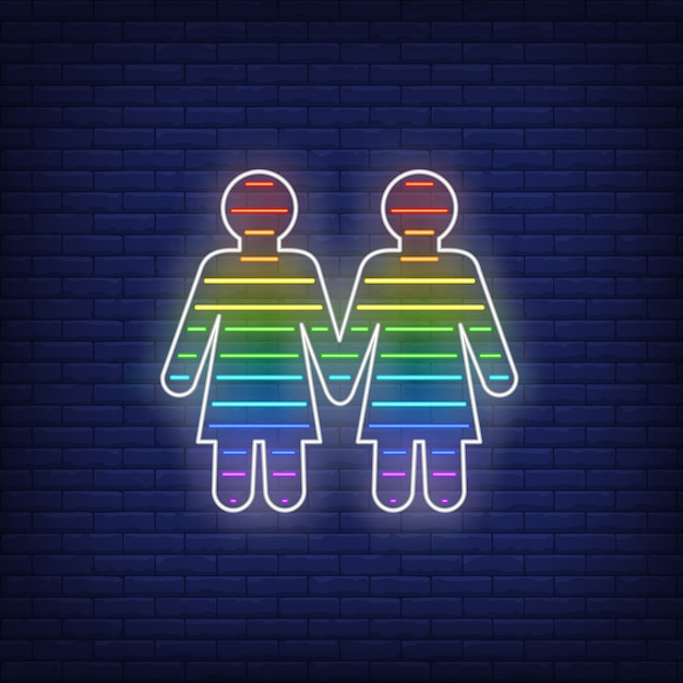 Casal de lésbicas sinal de néon Vetor grátis