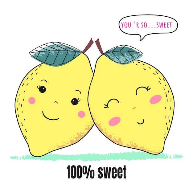 Casal de limão fofo para dia dos namorados Vetor Premium