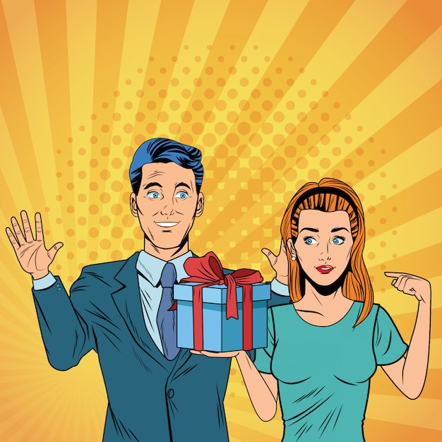 Casal de negócios de arte pop com desenhos animados presentes Vetor Premium