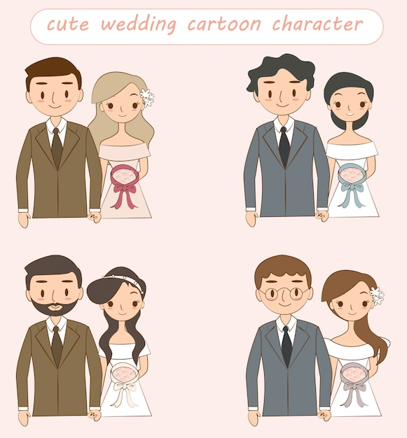 Casal de noivos bonito cartoon personagem coleção Vetor Premium