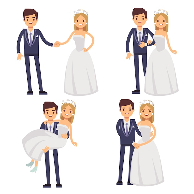 Casal de noivos dos desenhos animados. apenas caracteres vetoriais casados. Vetor Premium