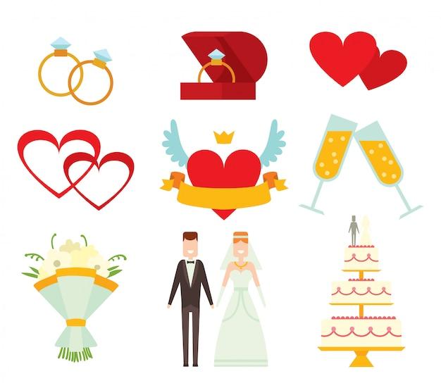 Casal de noivos e elementos cartoon ilustração vetorial de estilo Vetor Premium