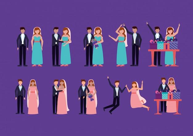 Casal de noivos em estilo simples Vetor grátis