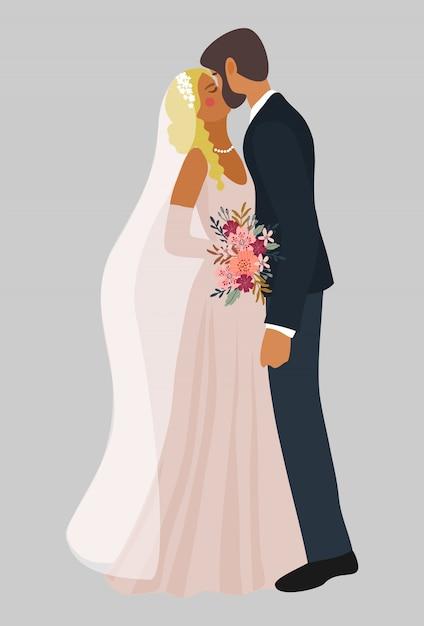 Casal de noivos se beijando Vetor Premium