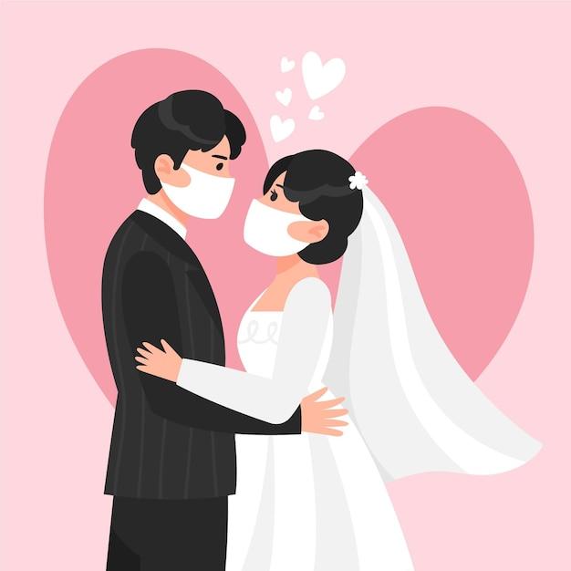 Casal de noivos usando máscaras faciais Vetor grátis