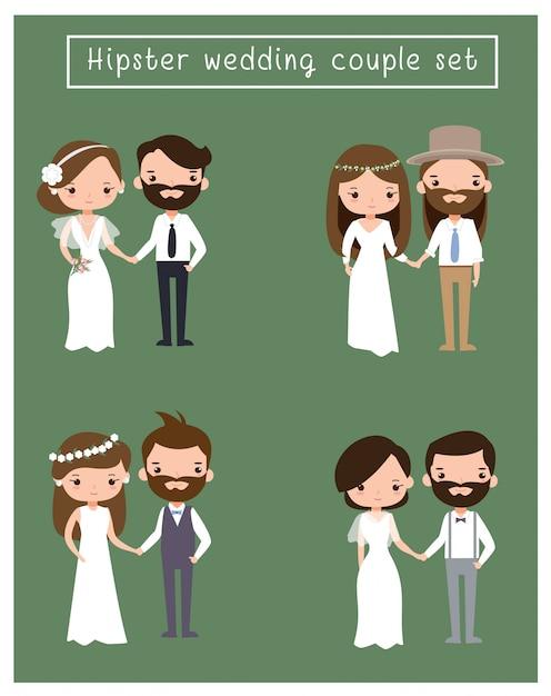 Casal de noivos Vetor Premium