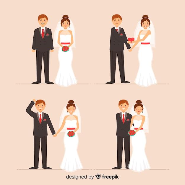 Casal de noivos Vetor grátis