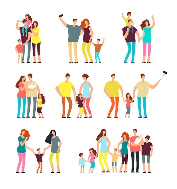 Casal de pais adultos jogando com crianças Vetor Premium