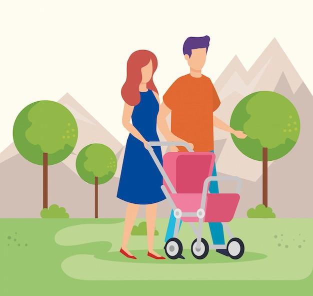 Casal de pais com bebê carrinho no parque Vetor grátis