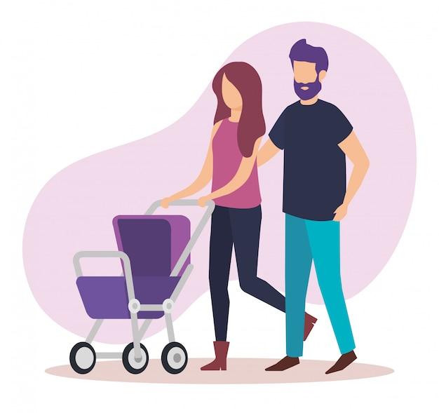 Casal de pais com personagens de bebê carrinho Vetor grátis