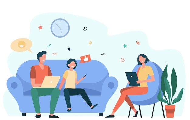 Casal de pais e filho usando gadgets. família viciada em mídia social com laptop, tablet e telefone sentados juntos. ilustração em vetor plana para vício em internet, comunicação Vetor grátis
