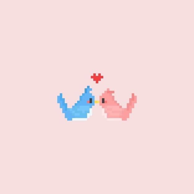 Casal de pássaros beijando pixel Vetor Premium