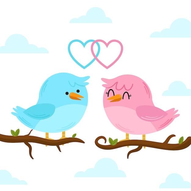 Casal de pássaros fofo dia dos namorados Vetor grátis