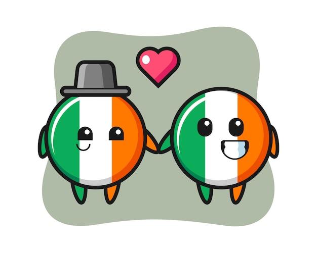 Casal de personagem de desenho animado do distintivo da bandeira da irlanda com gesto de apaixonar-se Vetor Premium