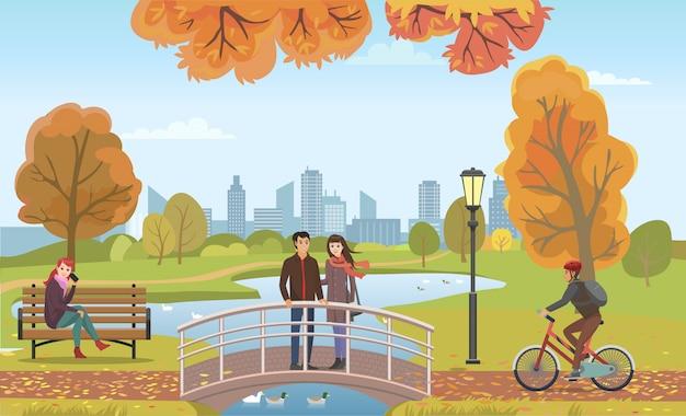 Casal de pessoas apaixonadas na ponte outono Vetor Premium