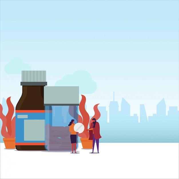Casal de plano de medicação dar tablet para o casal que está doente. Vetor Premium