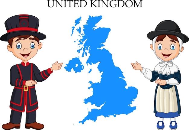 Casal de reino unido dos desenhos animados usando traje tradicional Vetor Premium