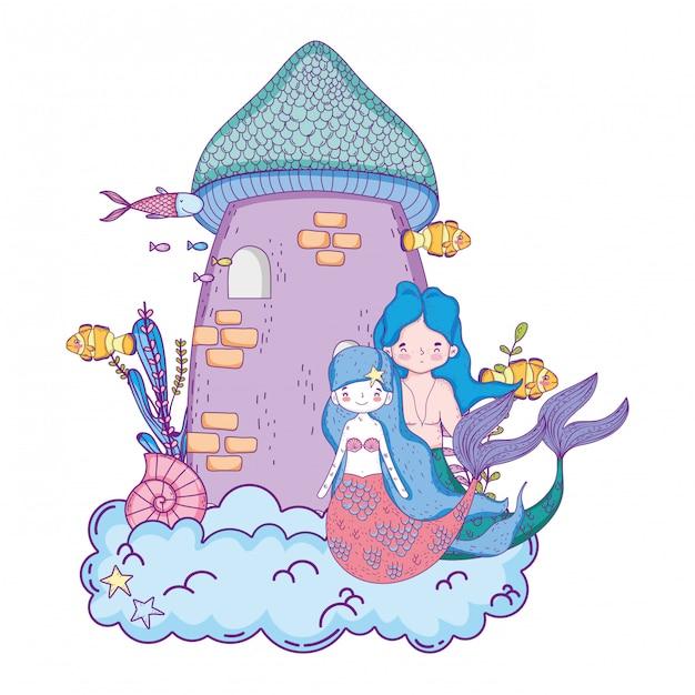 Casal de sereias com cena submarina do castelo Vetor Premium