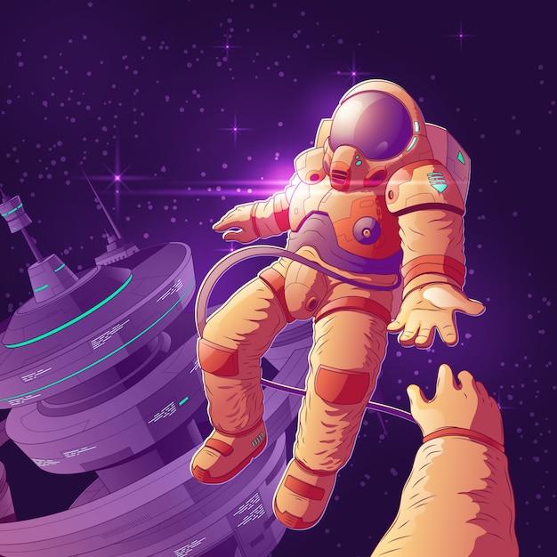 Casal de turistas do futuro espaço na órbita dos desenhos animados Vetor grátis
