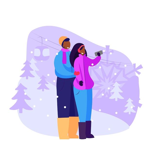 Casal de turistas tomando selfie ao ar livre Vetor grátis