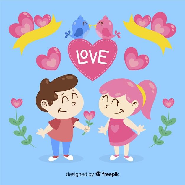 Casal desenhado mão colorido Vetor grátis