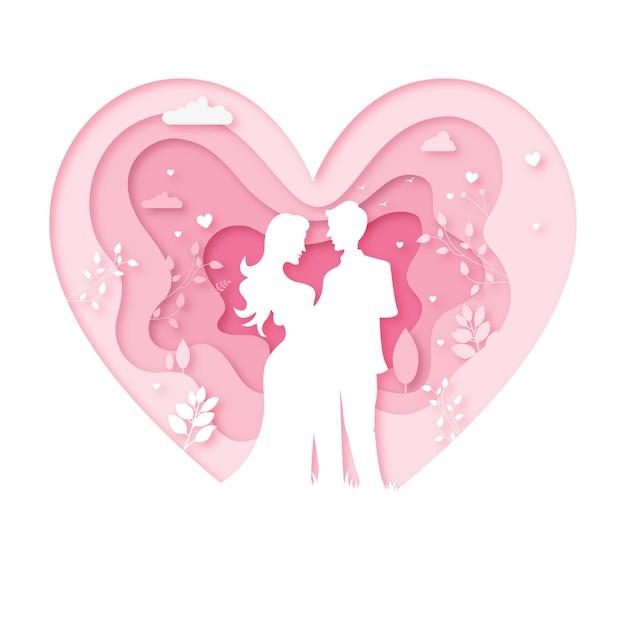 Casal dos namorados dançando papel de cortar coração Vetor Premium