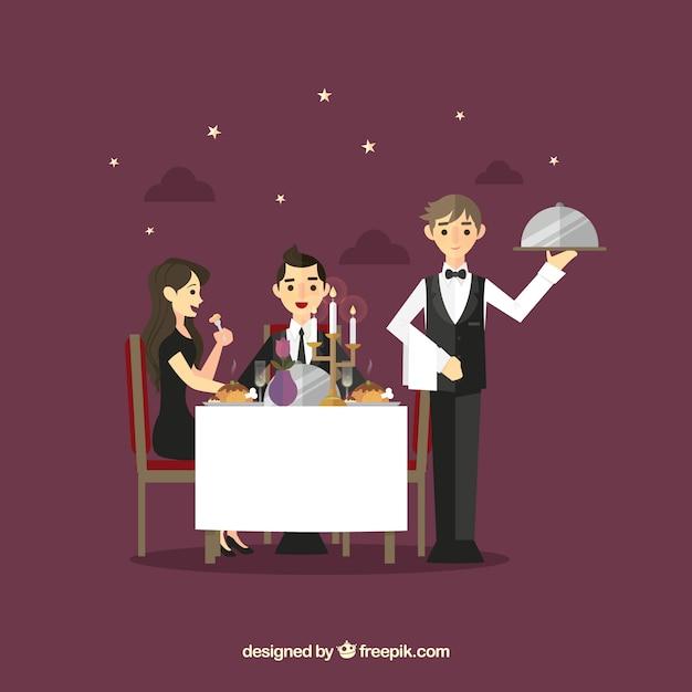 Casal e garçom durante o jantar romântico Vetor grátis
