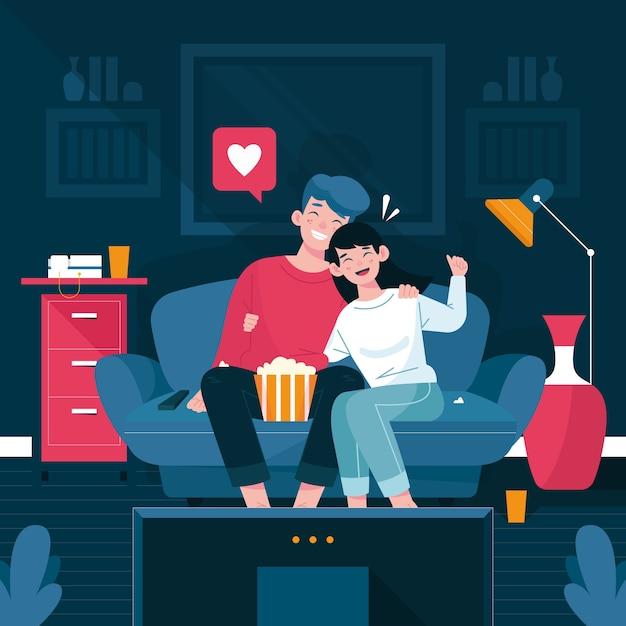 Casal em casa assistindo a um filme Vetor Premium
