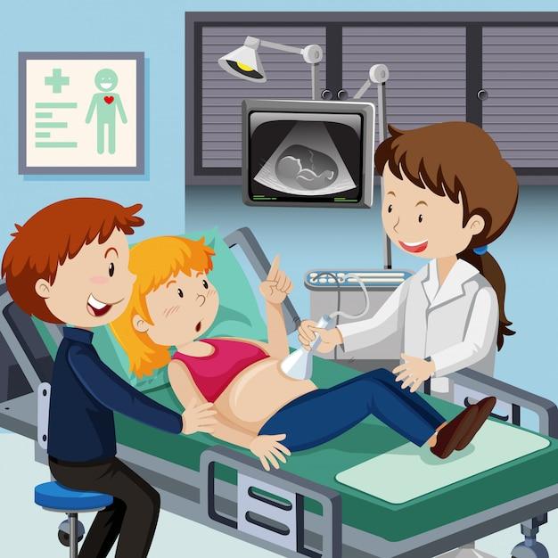 Casal encontra médico para ultra-som Vetor Premium