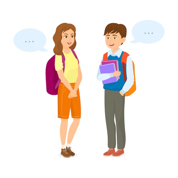 Casal estudantes falando com caixas de diálogo Vetor Premium