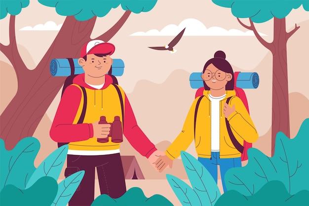 Casal explorando juntos novos destinos Vetor grátis