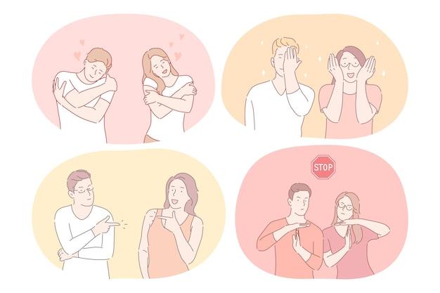 Casal expressando diferentes emoções e sinais Vetor Premium