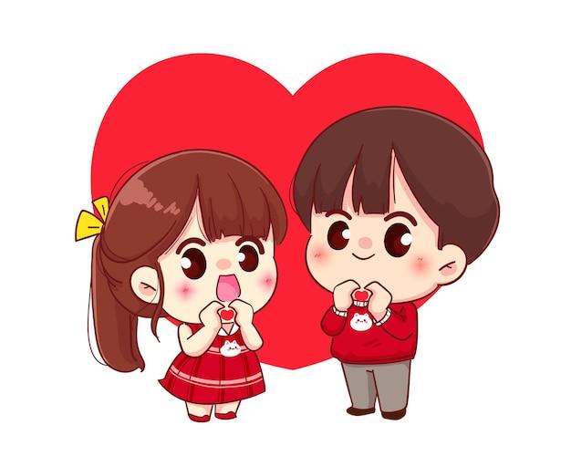Casal fazendo um coração com as mãos, feliz dia dos namorados, ilustração de personagem de desenho animado Vetor grátis