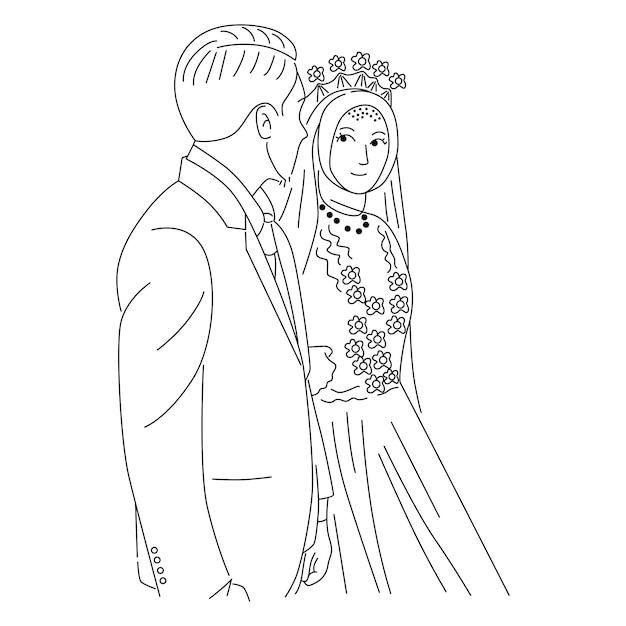 Casal feliz casamento Vetor Premium