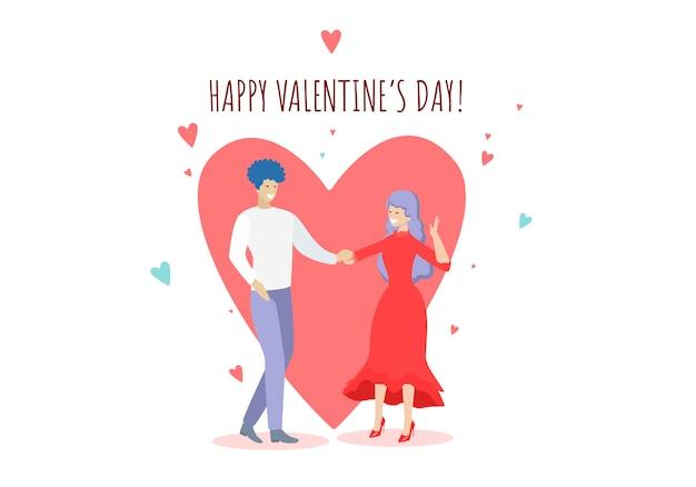 Casal feliz dançando no fundo de coração vermelho enorme Vetor Premium