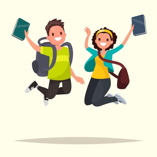 Casal feliz de estudantes pulando de alegria. ilustração em um estilo simples Vetor Premium
