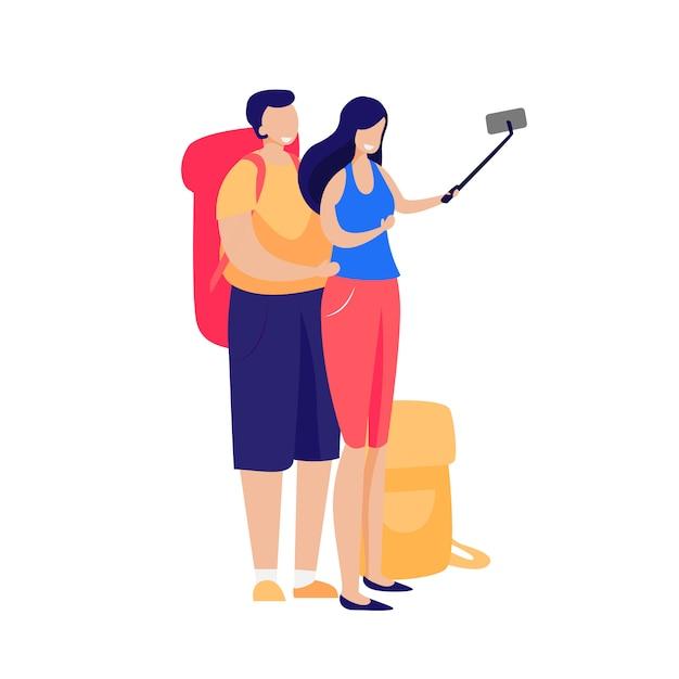 Casal feliz de turistas tomando selfie Vetor grátis