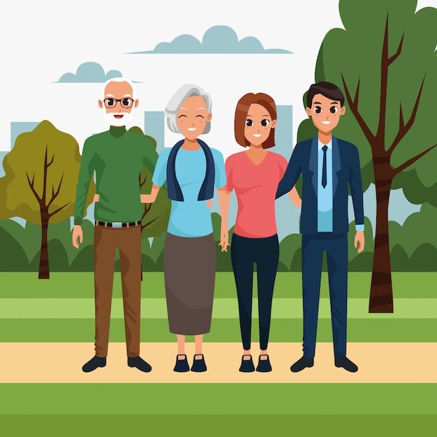 Casal feliz dos desenhos animados e casal de velhos no parque Vetor Premium