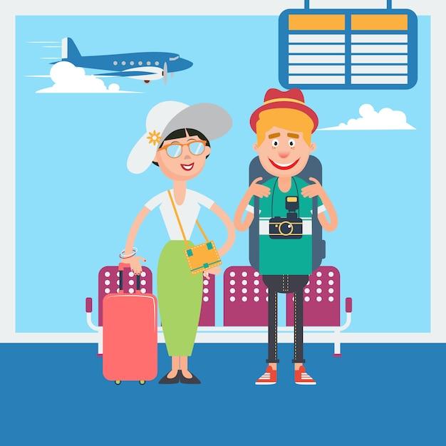 Casal feliz esperando para partir para as férias no aeroporto. ilustração vetorial Vetor Premium