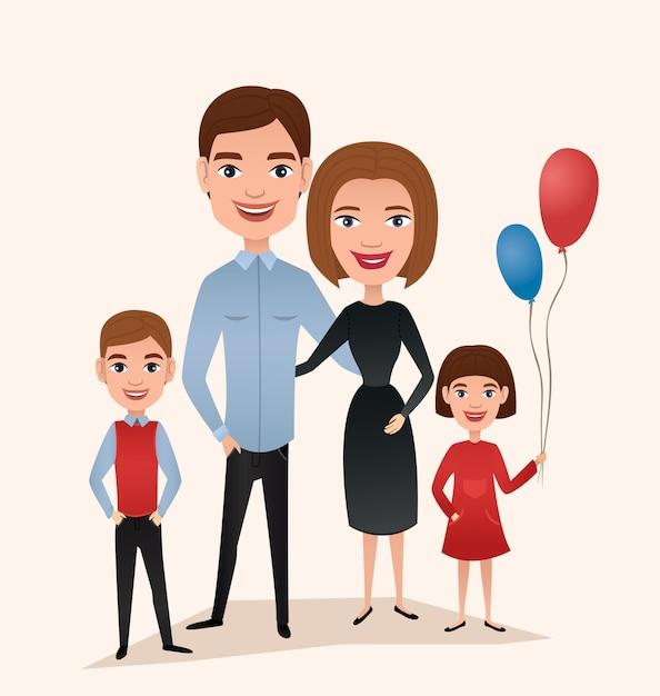 Casal feliz família com filhos Vetor Premium