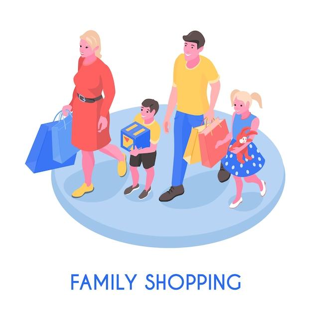 Casal feliz família e filhos andando com ilustração vetorial de composição isométrica de compras Vetor grátis
