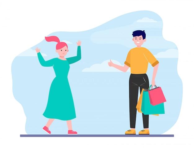 Casal feliz fazendo compras juntos Vetor grátis