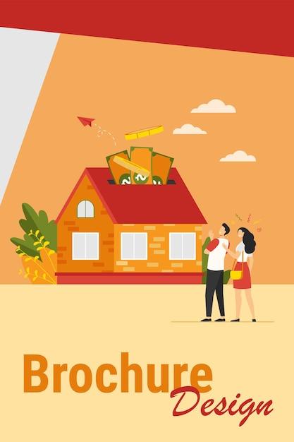 Casal feliz, investindo dinheiro em ilustração vetorial plana de propriedade. personagens de desenhos animados pegando crédito bancário e comprando casa. empréstimo hipotecário e conceito de propriedade Vetor grátis