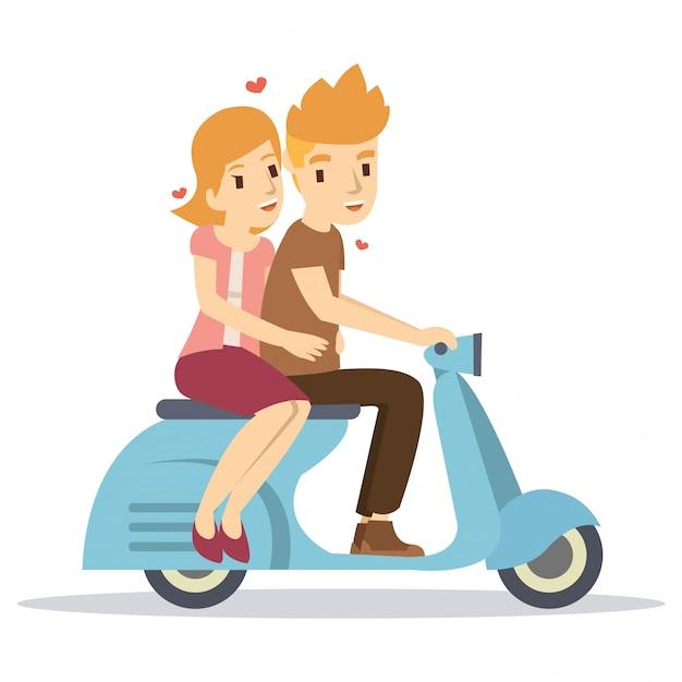 Casal feliz, montando uma scooter clássica no dia dos namorados Vetor Premium