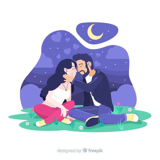 Casal feliz na natureza Vetor grátis